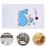 LegendTech Duschmatte Badematte Rutschfester Badvorleger Antirutsch PVC Badematte für Kinder Antibakterieller Mehltau Proof Duschkissen Tumble-Prävention zum Kinder Erwachsene Wal-Muster Weiß + Blau