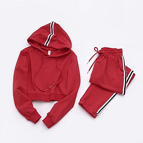 Decha 2 pièces Ensemble Vêtement de Sport Survêtements Sportswear Sweat Manches Longues Pantalon de Sport Casual pour Femme Rouge
