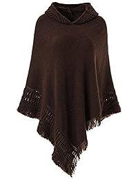 273011332a04 Landove Poncho à Capuche avec Franges Femme Chandail Cape Tricote au  Crochet Grand Taille Echarpe Veste