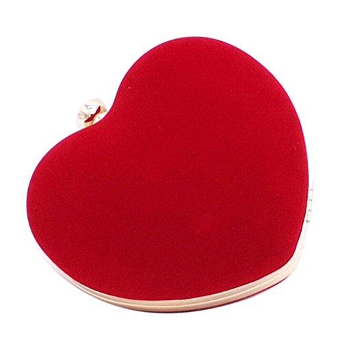 Cloud-Y Borsa Pochette Donna Sacchetto di Sera a Mano Borsetta stile Elegante Dolce Borsa Festa(Dimensione:16*8*16cm) Rosso
