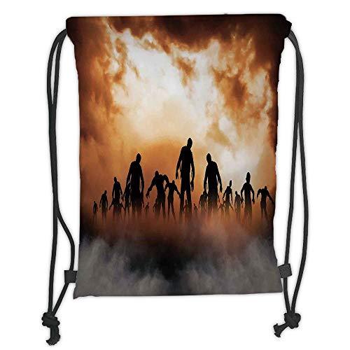 ack Backpacks Bags,Halloween Decorations,Zombies Dead Men Body in The Doom Mist at Night Sky Haunted Decor,Orange Black Soft Satin,5 Liter Capacity,Adjustable String Closure ()