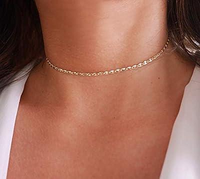Collier choker ras du cou - collier ultra fin minimaliste - chaîne à maillons largeplaqué or - collier doré - collier court - chocker or