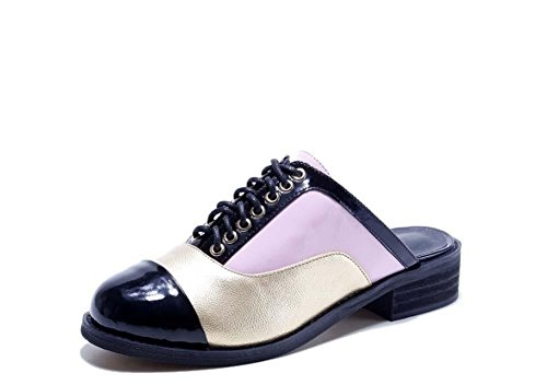 NobS Donne Color Matching Pantofole Mules tacco basso e nero Oro Bianco Scarpe Round-Toe Flat Shoes Pink