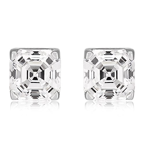 Ananth Jewels Curated Swarovski Zircon Imperial Mosaic (Asscher) Cut Stud Earrings for Women