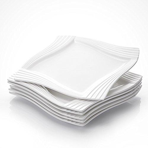 MALACASA, Serie Amparo, 6 teilig Set Cremeweiß Porzellan Kuchenteller Dessertteller Frühstücksteller 8 Zoll / 20,5x20,5x1,8cm für 6 Personen