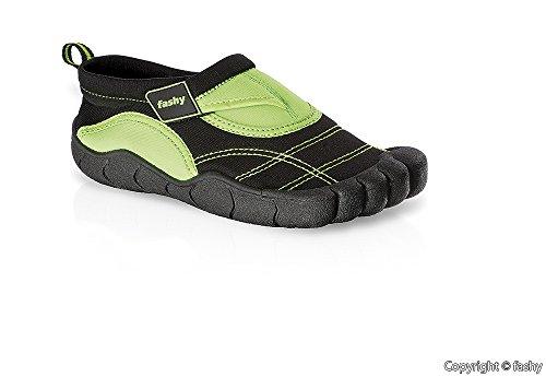 Fashy Kinder Aqua-Schuhe Badeschuhe Gr. 28 - 35 in schwarz/pink oder schwarz/grün Schwarz/Grün