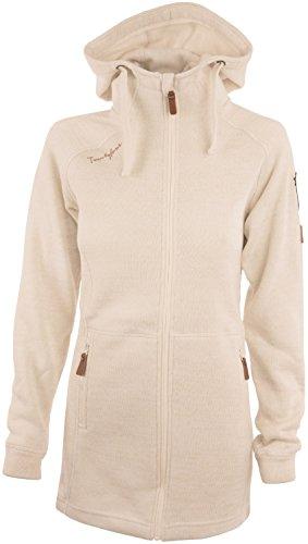 Twentyfour Damen Strick Fleece Mantel Finse - Lange Strickfleece Jacke mit Kapuze, warm und bequem, Natur, 40, 476195