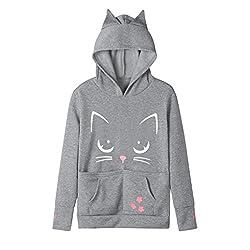 Women Pet Dog Cat Holder Pouch Pet Pocket Sweatshirt Blouse Hoodies Tops Cartoon Pattern Printed