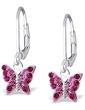 SL-Silver Ohrringe Kinderohrringe Kristall Schmetterling Fuchsia Rose Klappverschluss 925 Silber