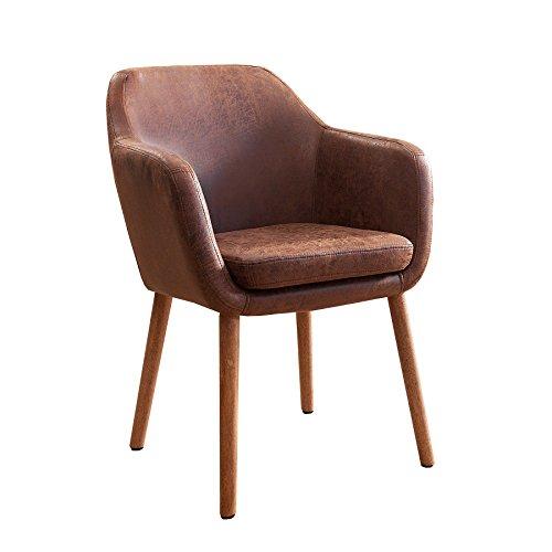 Invicta Interior Massiver Design Stuhl Supreme Vintage braun Massivholz Armlehnstuhl Esszimmerstuhl Esszimmer Sessel mit Armlehnen Massivholzbeine (Braun Hohe Rückenlehne Esszimmer Stuhl)