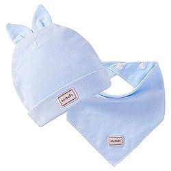 Harpily Baby Mützen Mädchen Set Warmer Kalter Baumwolle Neugeborene Cartoon Kaninchen Niedliche Anzüge-Baby Hut+Schal (Blau, Rabbit Ears)