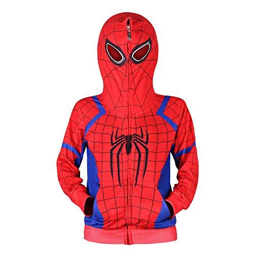 Jungen Spiderman Hoodie Cosplay Kostüm Reißverschluss Pullover Trainingsanzug Mantel Hose Geschenke für Kinder (Spiderman Kostüm Reißverschluss)