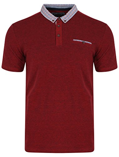 Kensington Eastside Herren Carndale Kurzarm Kollabiert Poloshirt Größe S-XXL Rot