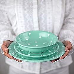 City to Cottage - Juego de vajilla de cerámica, 12 piezas, diseño de lunares, color azul y blanco