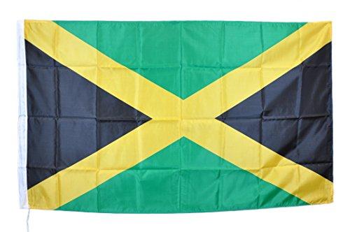 G.V. JAMAICAN FLAG BANDIERA GIAMAICA BOB MARLEY REGGAE GIAMAICANA NUOVA cm 90 x 150 ALTA QUALITA TESSUTO RESISTENTE