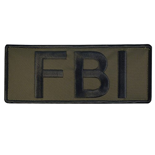 FBI Olive Drab OD Green Large XL 10x4 inch Vest Taktisch Tactical Embroidered Nylon Hook-and-Loop Aufnäher Patch -