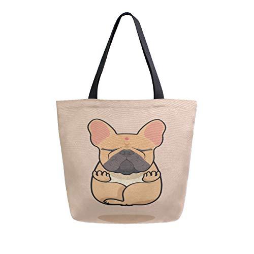 (Reopx Lustige Yoga Hund Cute Puppy Tragbare Große Doppelseitige Lässige Canvas Tragetaschen Handtasche Schulter Wiederverwendbare Einkaufstaschen Duffel Geldbörse Frauen Männer Lebensmittelgeschäft)