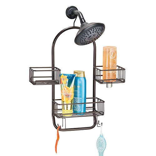 mDesign Duschablage zum Hängen - praktisches Duschregal ohne Bohren aus rostfreiem Metall - 3 Duschkörbe zum Hängen, 4 Haken und Handtuchstange für Duschzubehör - bronze