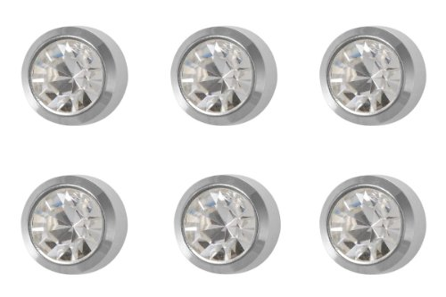 6 Pairs of Studex Ear Piercing April Birthstone Stainless Steel Stud Earrings 2mm Bezel Setting