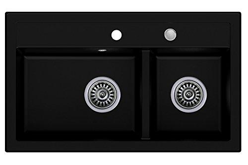 Granitspüle schwarz, 2-Becken, Drehexcenter + Siphon, Spülbecken, Küchenspüle, Schrankbreite ab 80 cm