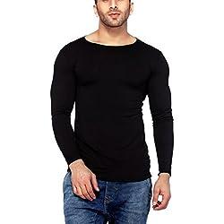 Tinted Men's Plain Regular Fit T-Shirt (TJ102VF-1_Black_Medium)