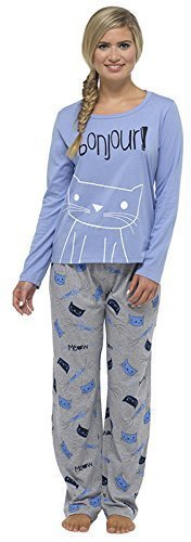665c6e93b8 Damas Tom Franks estampado de cuadros Invierno Largo Pijama Pijama Pijama –  azul – CAT