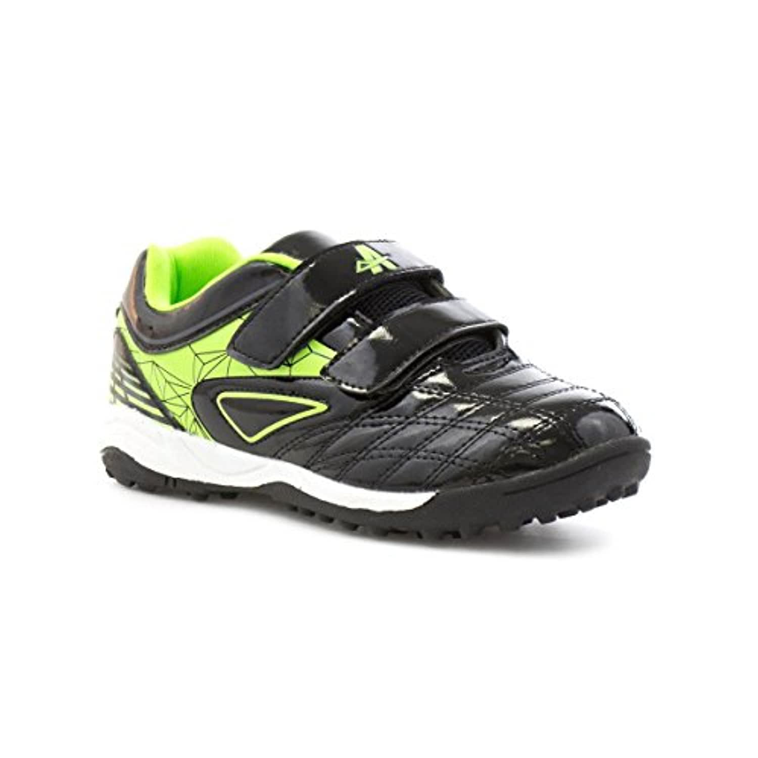 Ascot Boys Black and Lime Velcro Astroturf Trainer - Size 1 - Black