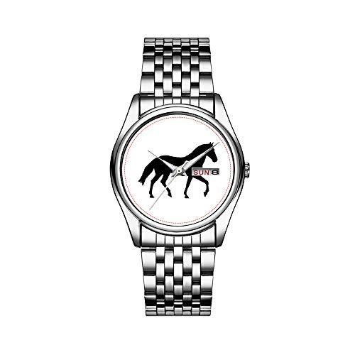 Männer Luxusuhr 30m Wasserdicht Datum Herrenuhr Sportuhren Herren Armbanduhr Quarz Casual Geschenk Schwarz Pferd Silhouette Pony Pferd Schatten Einfache Uhren