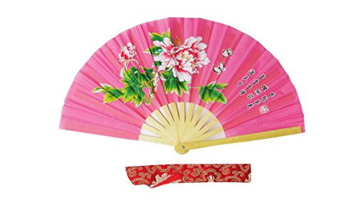 CHN Elements.accessories FD-P-Pink-Bamboo Folding Fan Tai Chi Fan/Kung Fu Fan/Martial Arts/Dancing Fan Oriental Design-Peony