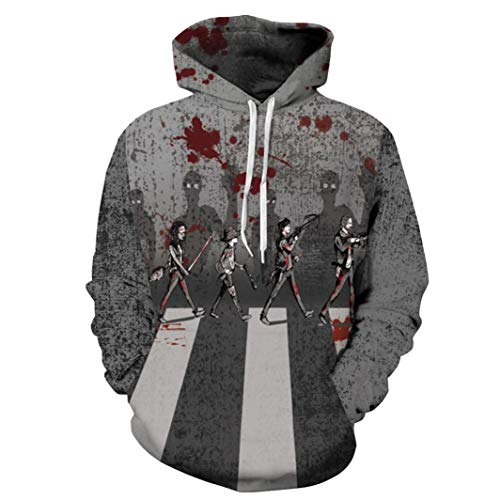 UFACE Herren Herbst und Winter Blood Print Digital Print Halloween Kapuzenpullover Frauen Männer Blut 3D Druck Langarm Hoodie Sweatshirt Pullover Top(D,M) (Hello Kitty Mann Kostüm)