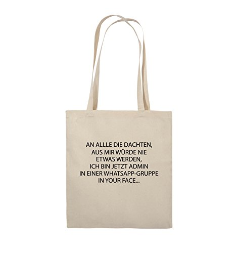 Comedy Bags - ADMIN WHATSAPP GRUPPE - Jutebeutel - lange Henkel - 38x42cm - Farbe: Schwarz / Silber Natural / Schwarz