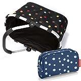 reisenthel carrybag Einkaufskorb dots farbige Punkte 48x29x28cm - Exklusiv-Set mit Kulturtasche Beautycase (Spots Navy blau)