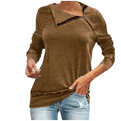 Smonke Damen Mode Pullover Einfarbige Langarmshirts Hoodie Sweatshirt Stand Zipper Tops Herbst Winter T-Shirt Elegante lose Bluse (Shirt Knit Pacific)