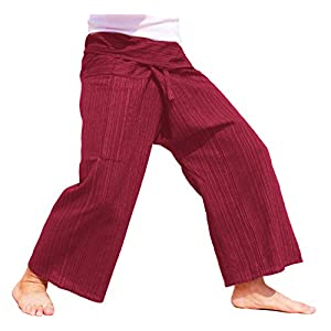 raanpahmuang Licht gestreift Baumwolle hoch Thai Fisherman Wrap Pants Plus
