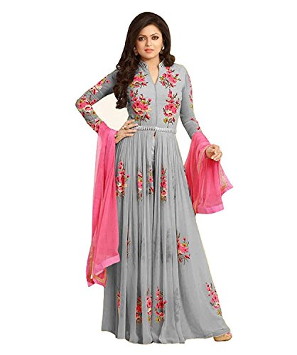 Salwar Style Women\'s Georgette Embroidered Anarkali Gown (Grey Color_Free Size)
