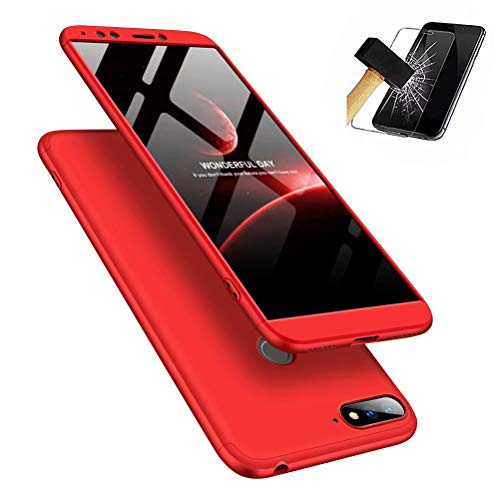 t Premium Hart PC 360 Grad Hülle Huawei Honor 7A/Y6 Hülle + Panzerglas,3 in1 Handytasche Handyhülle Schutzhülle Cover - Rot ()