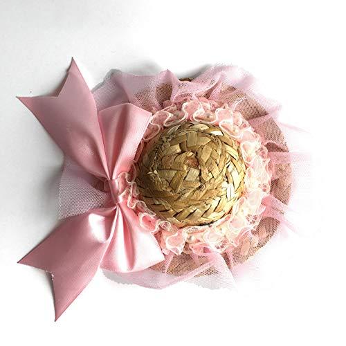 Ollypet süßer Hut Katze Kostüm Party Outfit für Kleine und mittelgroße Haustiere Strohhut verstellbar rosa Blume witzige Welpen Hut, S, gelb