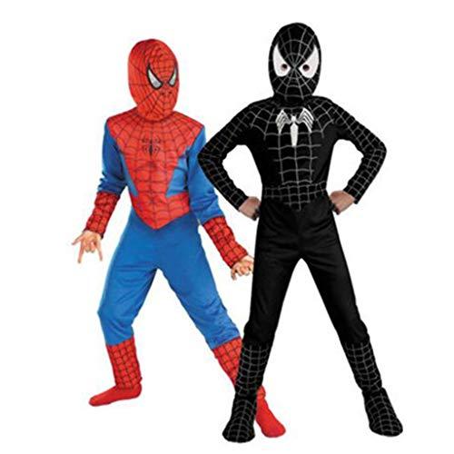 YUNMO Spider-Man Costume per Bambini Seconda Pelle Abbigliamento Outfit Halloween (Colore : Nero, Dimensioni : 140)