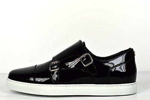 Dsquared Herren Leder Shiny Gloss Sneaker Schnür Schuhe Stiefel Schwarz 40 €395 (Gucci Schuhe Schwarz)