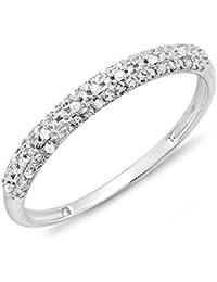 0.10 Carat (ctw) 18 ct White Gold Round Diamond Ladies Anniversary Wedding Band Stackable Ring 1/10 CT