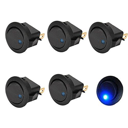 5PCS Blue Led Dot Light 12V Car Boat Auto Round Rocker ON/OFF SPST Switch 3 Pin On-Off Test