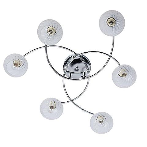 Plafonnier modeste de style moderne avec armature en métal galvanisé couleur chrome et plafonniers en verre brossé, pour salon ou chambre 6 ampoules Ø75cm non-incl. E14 6x60W 230V