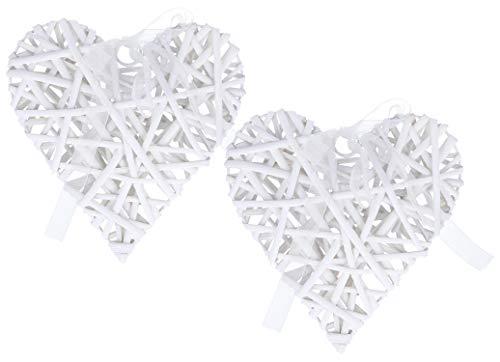 com-four® 2 Coeurs en Bois de rotin Blanc pour décorer par Exemple des fenêtres, des Portes ou des Murs (02 pièces - Coeurs de décoration)