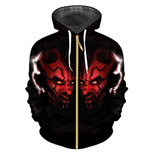 Ai Ya-weiyi Mann Herbst Zip Hoodies Slim Lose Fell 3D-Gedruckten Persönlichkeit Red Devil and Big Size Costume Homme Winter Tops