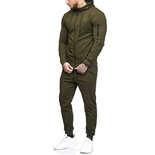 HUYURI Herren Casual Slim Fit Korsett Sweatshirt Top und Hose Sport Fit Sets