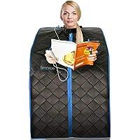 Sauna Infrarouge et Portable SereneLife | Spa à Domicile pour une Personne | Idéal pour la Désintoxication et la Perte de Poids (Couleur : Noir)