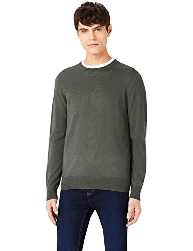 MERAKI Merino-Pullover Herren mit Rundhals, Grün (Khaki), Medium (Grün Khaki)