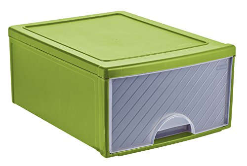 Rotho Frontbox Schubladenbox, Kunststoff (PP), grün/transparent, (44,5 x 34,5 x 20 cm)