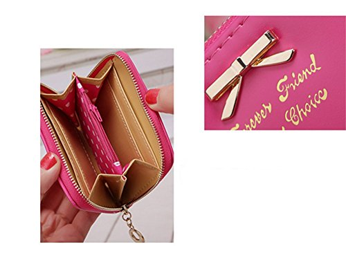 Distinct® nuova borsa delle donne di cuoio Mini portafoglio carta titolare Zip piccola moneta frizione (rosa) Rosa rossa