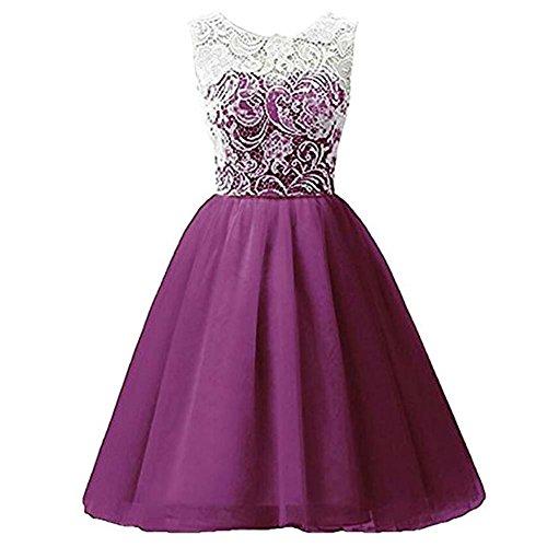 Timlung Kinder Mädchen Spitzenkleid Abendkleid Blumenkleid, Lila, Gr.134/140 (Kleider Für Kinder)